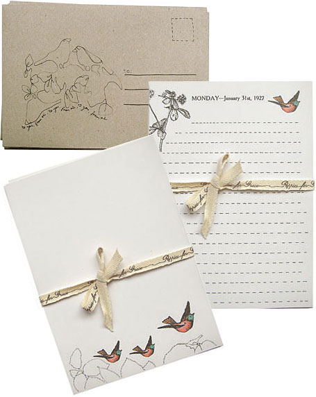 Three Little Birds Stationery Set by Poppies for Grace