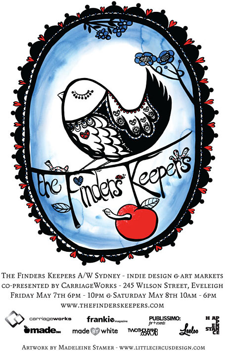 Finders Keepers flyer for Sydney Autumn Winter Markets, May 2010 - illustrated by Madeleine Stamer