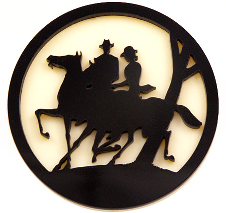 Horse and Rider acrylic brooch by Melbourne designer Natalie Cirillo of A Skulk of Foxes