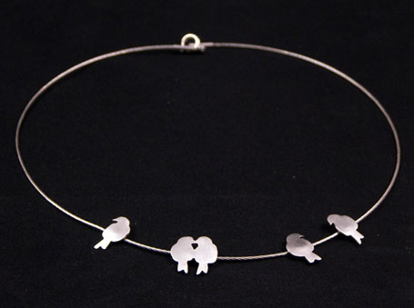 Birds on a Wire silver necklace by Melbourne designer Natalie Cirillo of A Skulk of Foxes