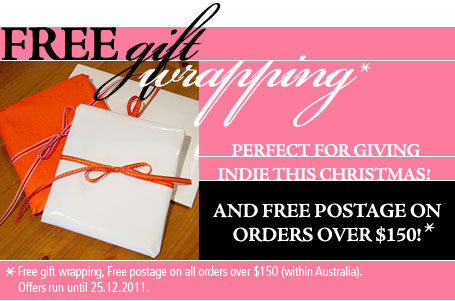 Free Christmas gift wrapping and free postage for orders over $150 at indie art & design until Christmas