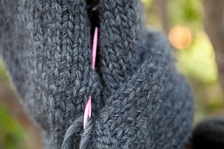 Two halves stitched together - KnitKnit Hooded Scarf knitting project