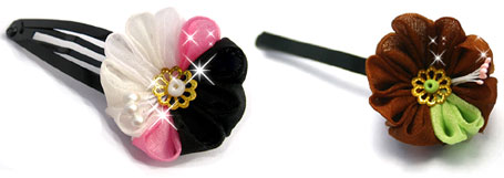 Coconut Ice Kanzashi and Forest Kanzashi - Cute hair accessories by Peachypan
