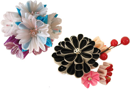 Crystal Drop Kanzashi and Red Berries Kanzashi - Cute hair accessories by Peachypan
