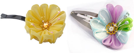 Pineapple Pieces Kanzashi and Lucky Star Kanzashi - Cute hair accessories by Peachypan