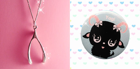 Wishbone Charm and Yagi Badge - Cute accessories by Peachypan