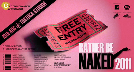 Invitation to Rather Be Naked 2011 group show at Sydney's Tortuga Studios