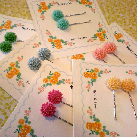Notions Chrysanthemum Hair Slides from Ruck Rover