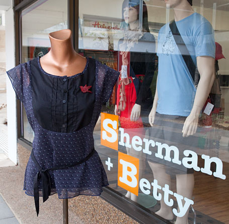 Shop window at Sherman and Betty, Katoomba, Blue Mountains NSW