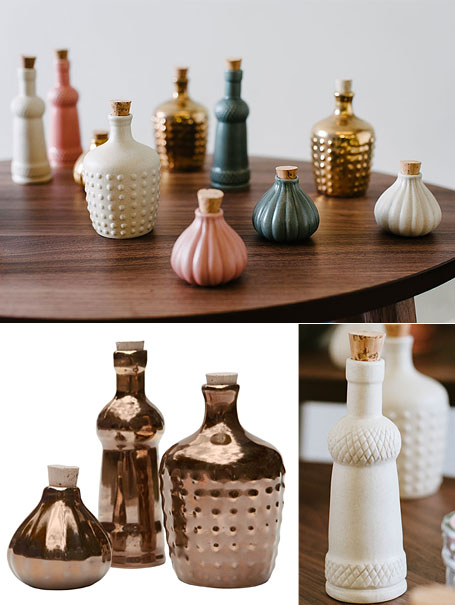 LoveHate ceramic bottles in pink, white, charcoal grey and limited edition gold, available from www.indie.com.au.