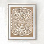 Polish Folk Art Floral Screen Print - White on Natural Kraft Paper