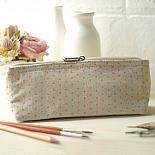 Linen Pencil Case - Pink Triangle Print