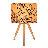Sketch Bird Table Lamp with Timber Tripod Base (Turned ON) - designed in Australia by Micky & Stevie