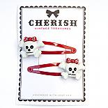 Red & White Skull Hair Clips by Cherish Vintage Treasures