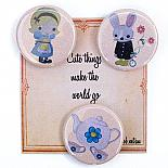 Alice and Rabbit Badge Set on Cute Card by Bob Boutique