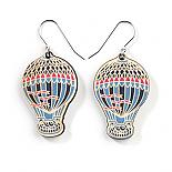 Wooden Hot Air Balloon Earrings - Blue Multicolour by Polli