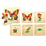 Wooden 6 Layer Caterpillar Butterfly Puzzle designed in Australia by Fun Factory