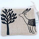 Antelopes Flat Purse - Black on Natural by Mingus