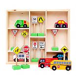 Wooden Vehicle and Traffic Sign 16 Piece Set designed in Australia by Fun Factory