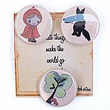 Little Red Badge Set on Cute Card by Bob Boutique