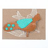 Peacock Leather Brooch by Mingus