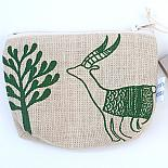 Antelopes Standing Purse - Green on Natural by Mingus