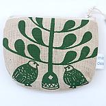 Lovebirds Standing Purse - Green on Natural by Mingus