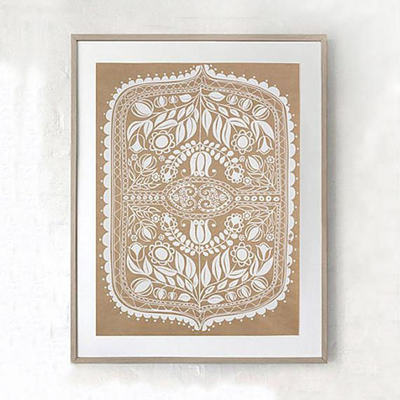 Polish Folk Art Floral Screen Print - White on Natural Kraft Paper - made in Sydney by laikonik