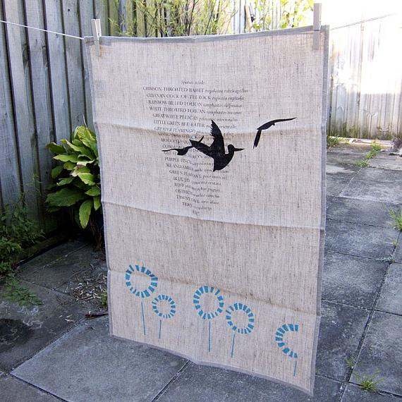 Three Birds Tea Towel - Natural Linen, by me and amber