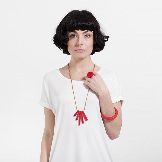 Bloom Necklace - Red Resin - handmade in Melbourne by mooku