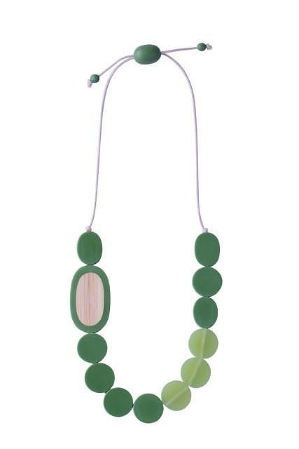 Resin Pebble Necklace - Green | Bamboo designed in Melbourne by mooku