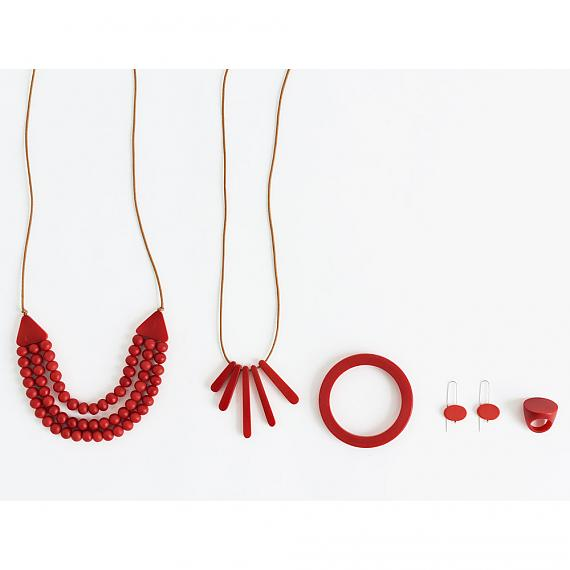 Red resin jewellery designed and made in Australia by mooku