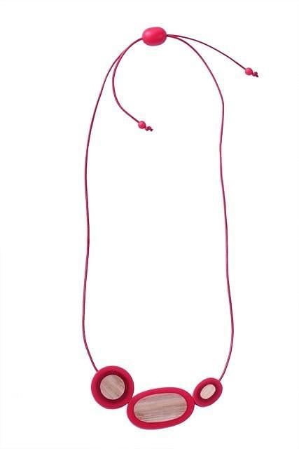 Resin Rockpool Necklace - Red   Bamboo designed in Melbourne by mooku