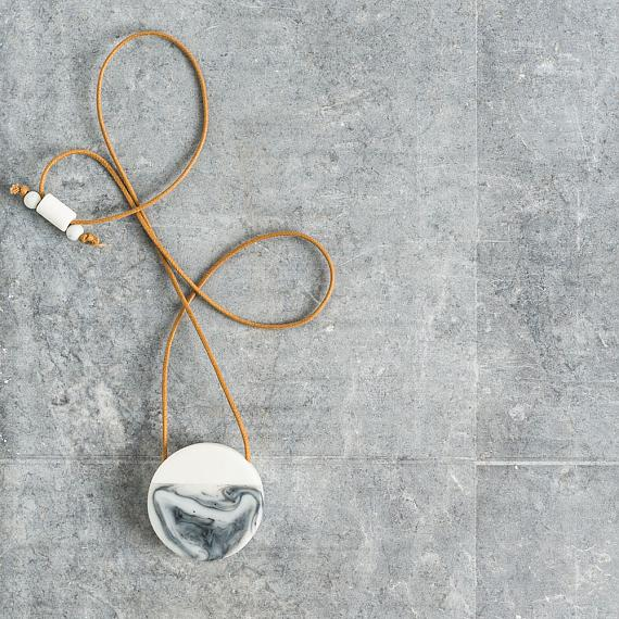 Secrets Round Locket Resin and Wood - White | Swirl 'Marble' Effect handmade in Melbourne by mooku