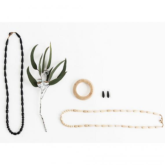 Jewellery including the Seed Necklace in Natural handmade in Melbourne by mooku