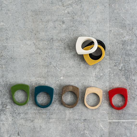 Stacking Rings in wood and resin designed and handmade in Australia by mooku