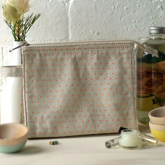 Linen Make Up Bag Pink Triangle Print by Love Hate