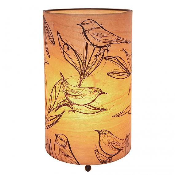 Sketch Bird Cylinder Cherry Wood Table Lamp Turned ON - designed in Australia by Micky & Stevie