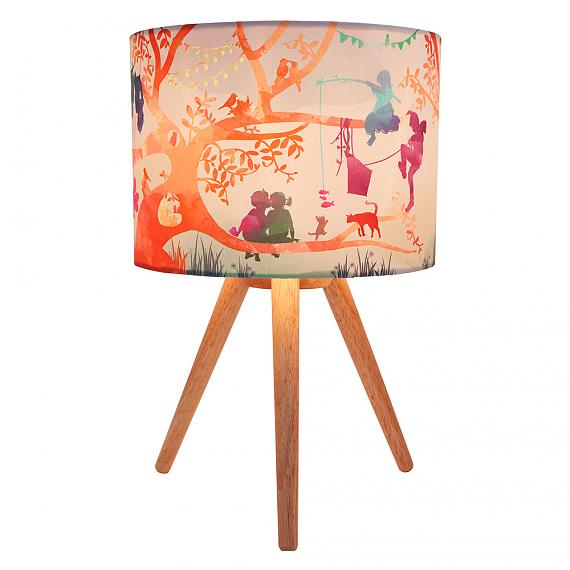Treehouse Colour Fabric Table Lamp (Turned ON) - designed in Australia by Micky & Stevie