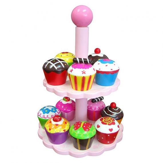 12 Wooden Cupcakes with Stand designed in Australia by Fun Factory
