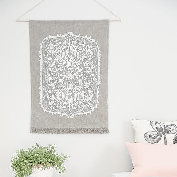 Polish Folk Art Floral Screen Print - White on Pure Linen Wall Hanging - made in Sydney by laikonik