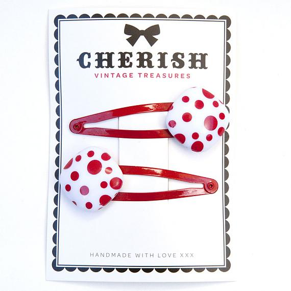 Red & White Spotted Hair Clips by Cherish Vintage Treasures