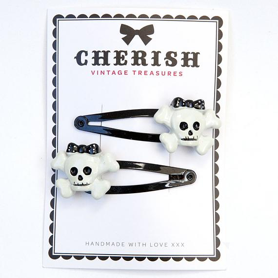 Black & White Skull Hair Clips by Cherish Vintage Treasures