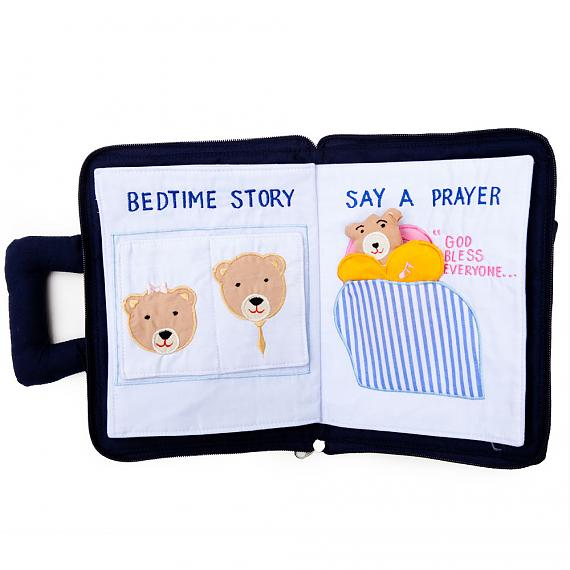 Lullaby and Goodnight Book Bag - Pink Soft Activity Book - designed in Australia by Growing World
