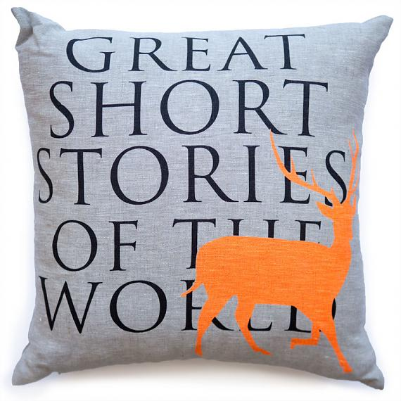 Great Short Stories Cushion Orange Elk designed and handmade in Australia by me and amber