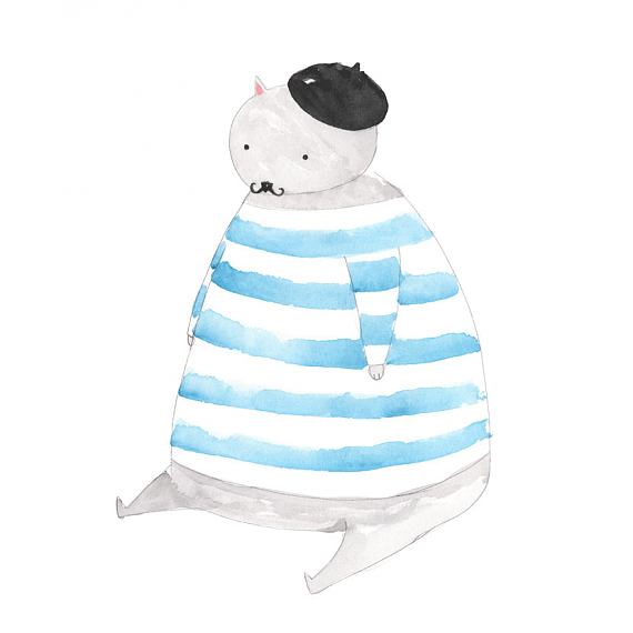 Fat Cat A4 Print by Amy Borrell