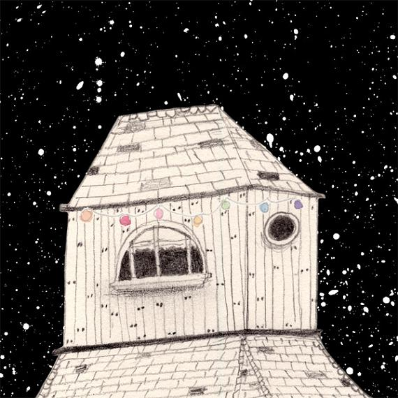 Detail from Night House A4 Print by Amy Borrell