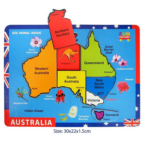 Wooden Australia Jigsaw Puzzle Raised Pieces designed in Australia by Fun Factory