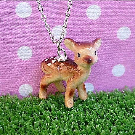 Piccolo Baby Deer Dark Brown on Silver Chain by Meow Girl