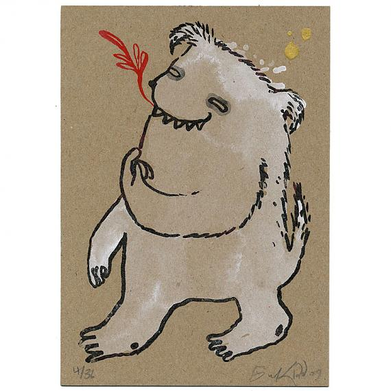 Bear Monster Handpainted Gocco on Kraft by benconservato